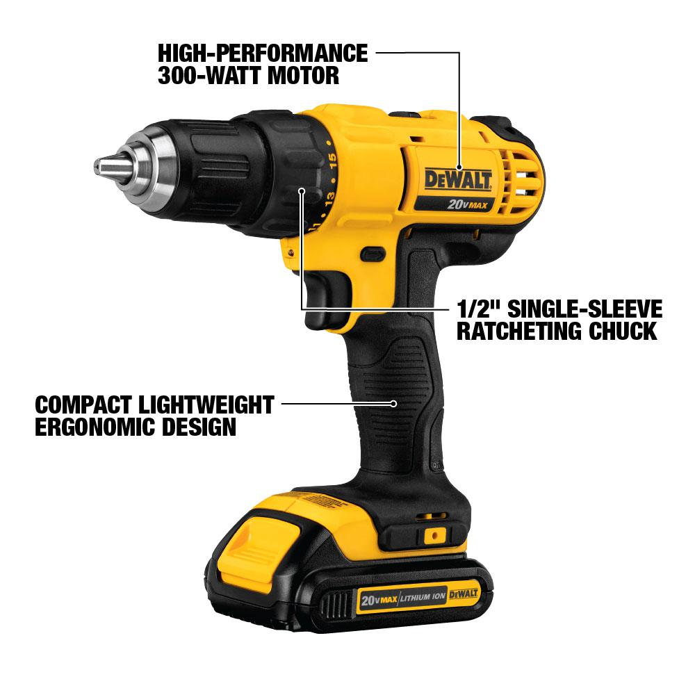 DEWALT 20-Volt MAX Lithium-Ion Cordless 1/2 in. Drill/Driver Kit with on