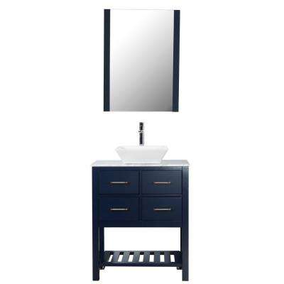 Santa Monica 30 in. W x 18 in. D Bath Vanity in Navy with Marble Vanity Top in White with White Basin and Mirror