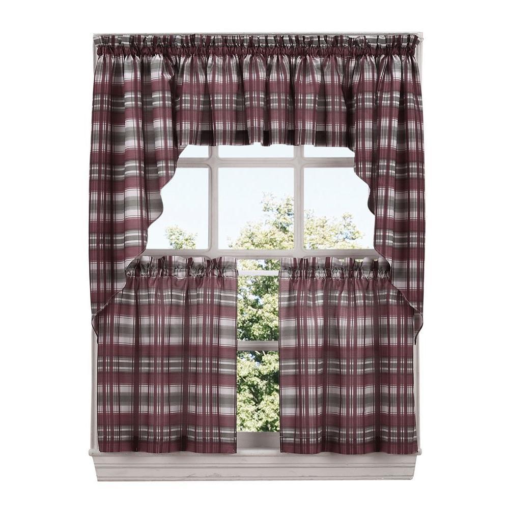 Sage Colored Curtains Kitchen: LICHTENBERG Semi-Opaque Sage Green Dawson Microfiber Plaid