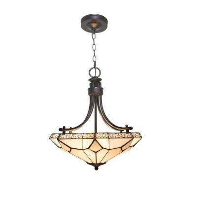 3-Light White Chandelier with Tier-Drop Stained Glass with Punch Metal Scallop Shade