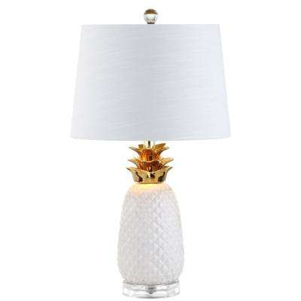 Pineapple 23 in. White/Gold Ceramic Table Lamp