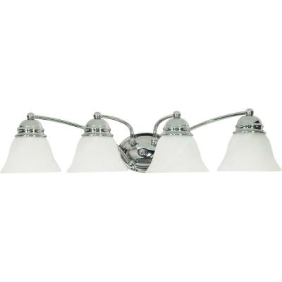 4-Light Polished Chrome Vanity Light with Alabaster Glass Bell Shades