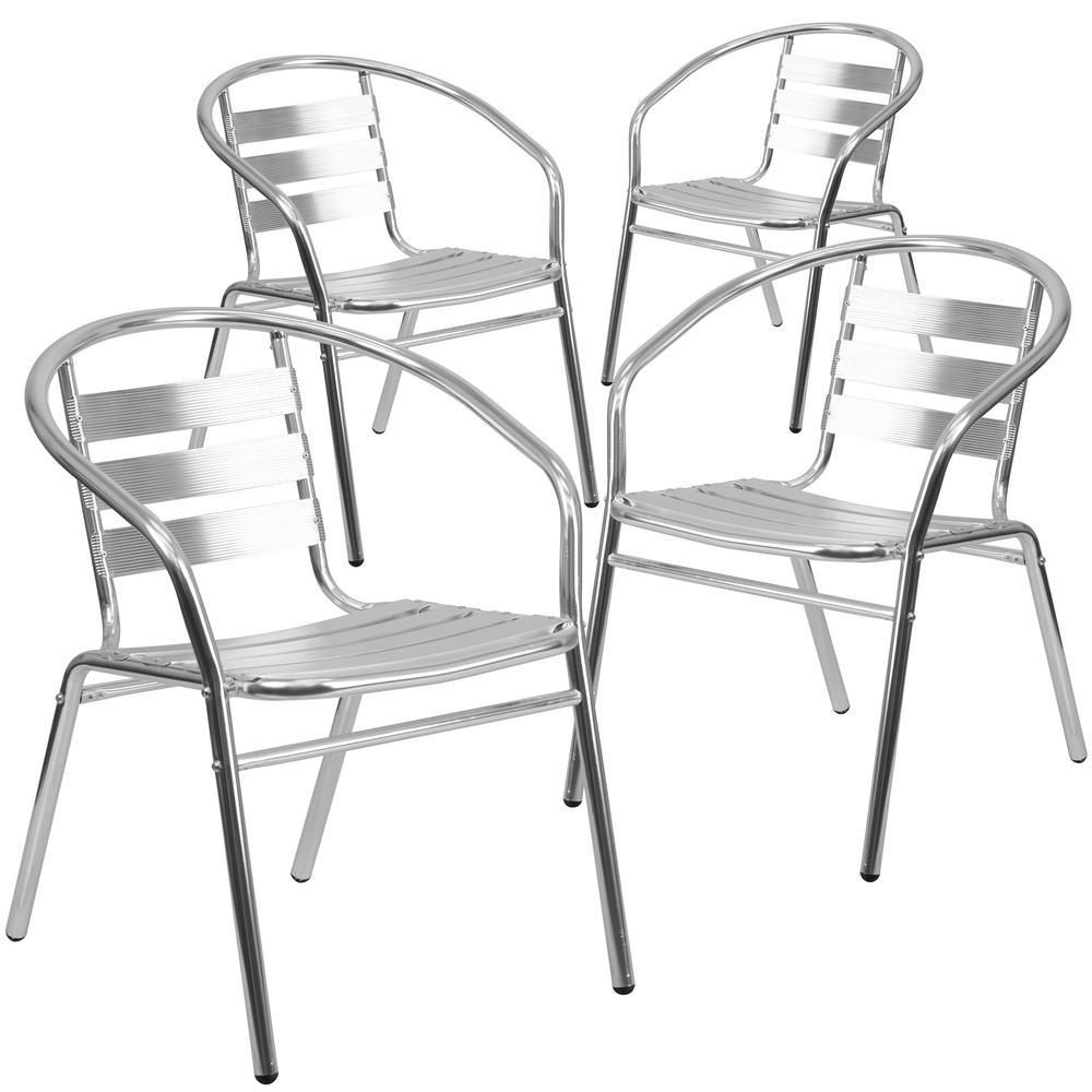 Stackable Metal Outdoor Dining Chair in Aluminum (Set of 4)
