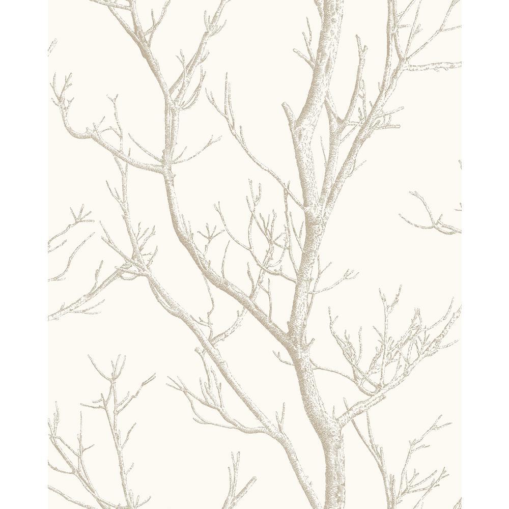 Brewster 56.4 sq. ft. Laelia White Silhouette Tree Wallpaper