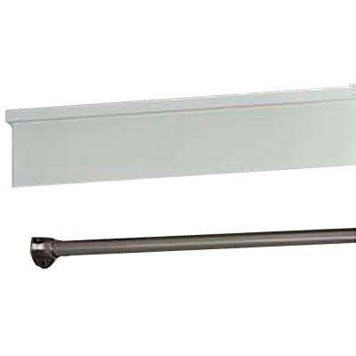 24 in. Parisian White Wood Bridges with Brushed Nickel Hanging Rods