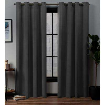 Academy Total Blackout Grommet Top Curtain Panel Pair in Charcoal - 52 in. W x 96 in. L (2-Panel)