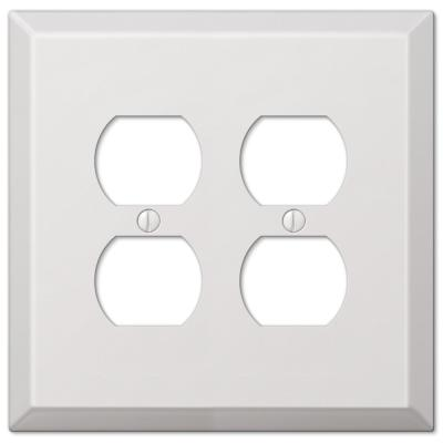Oversized 2 Gang Duplex Steel Wall Plate - White
