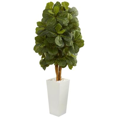 5 ft. High Indoor Fiddle Leaf Artificial Tree in White Tower Planter
