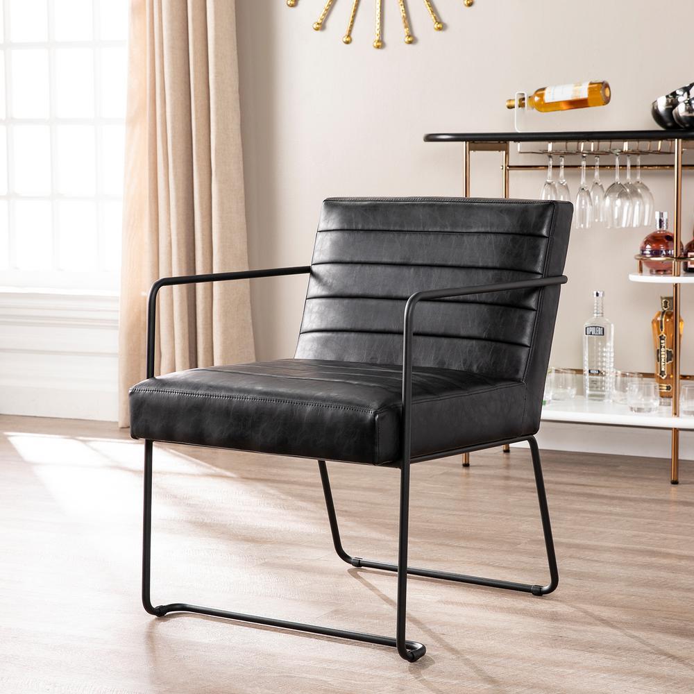 Lester Black Faux Leather Accent Chair