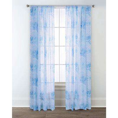 Sundial Blue 84 in. L Sheer Window Panel (2-Pack)
