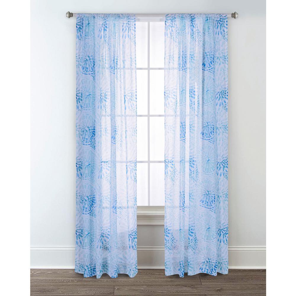 Sara B. Sundial Blue 95 in. L Sheer Window Panel (2-Pack)