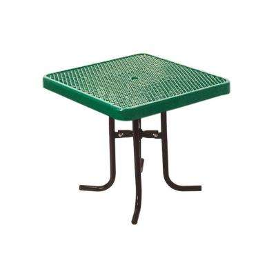 36 in. Diamond Green Commercial Park Square Food Court Portable Table