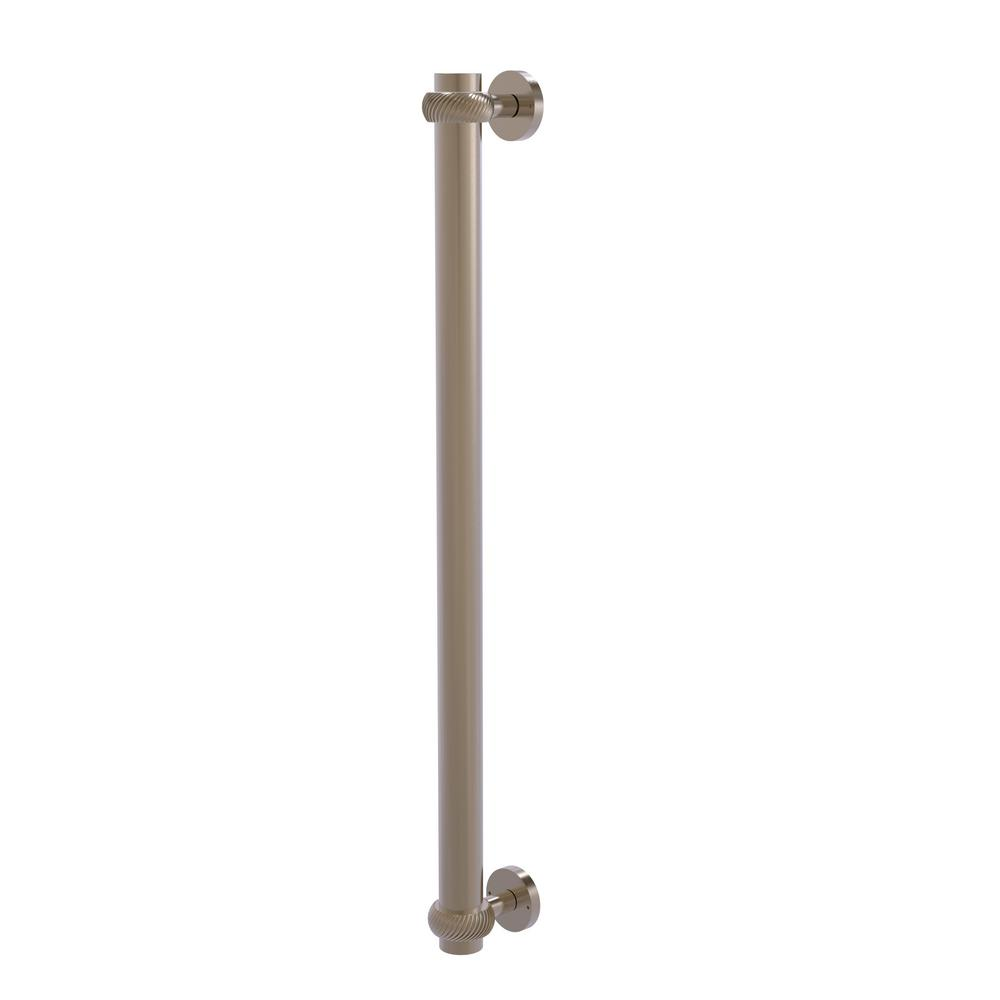 Allied Brass 18 in. Center-to-Center Refrigerator Pull with Twisted Aents in Antique Pewter Transform your kitchen with this elegant Refrigerator and Appliance Pull. This pull is designed for replacing the pulls or handles on your built-in refrigerator, freezer or any other built in appliance. Appliance pull is made of solid brass and provided with a lifetime finish to insure products will provide a lifetime of service.