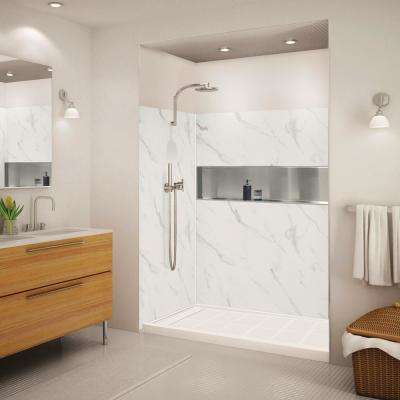 Expressions 32 in. x 60 in. x 72 in. 3-Piece Easy Up Adhesive Alcove Shower Wall Surround in Bianca