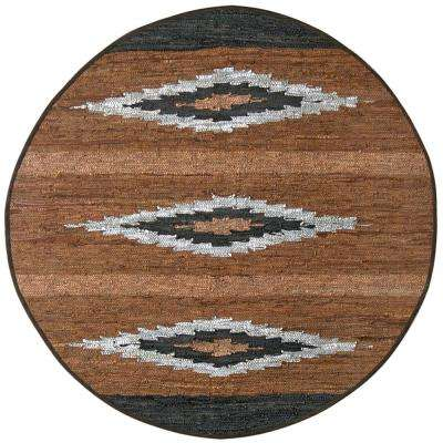 Diamond Leather 6 ft. x 6 ft. Round Area Rug