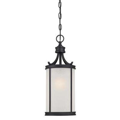 Perchside Textured Black 1-Light Outdoor Hanging Pendant