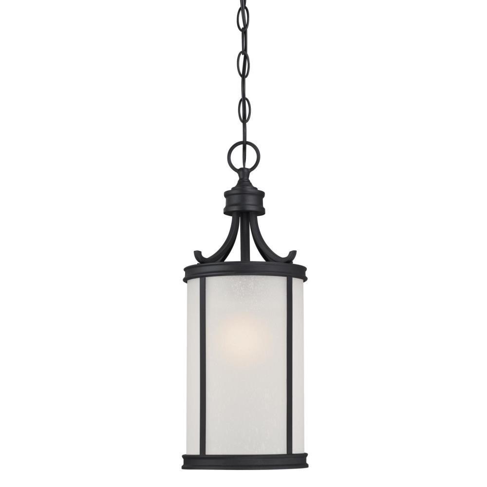 Perchside Textured Black 1-Light Outdoor Hanging Pendant