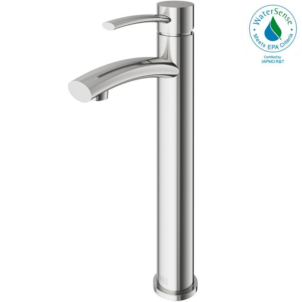 VIGO Milo Single Hole Single-Handle Vessel Bathroom Faucet in Brushed Nickel