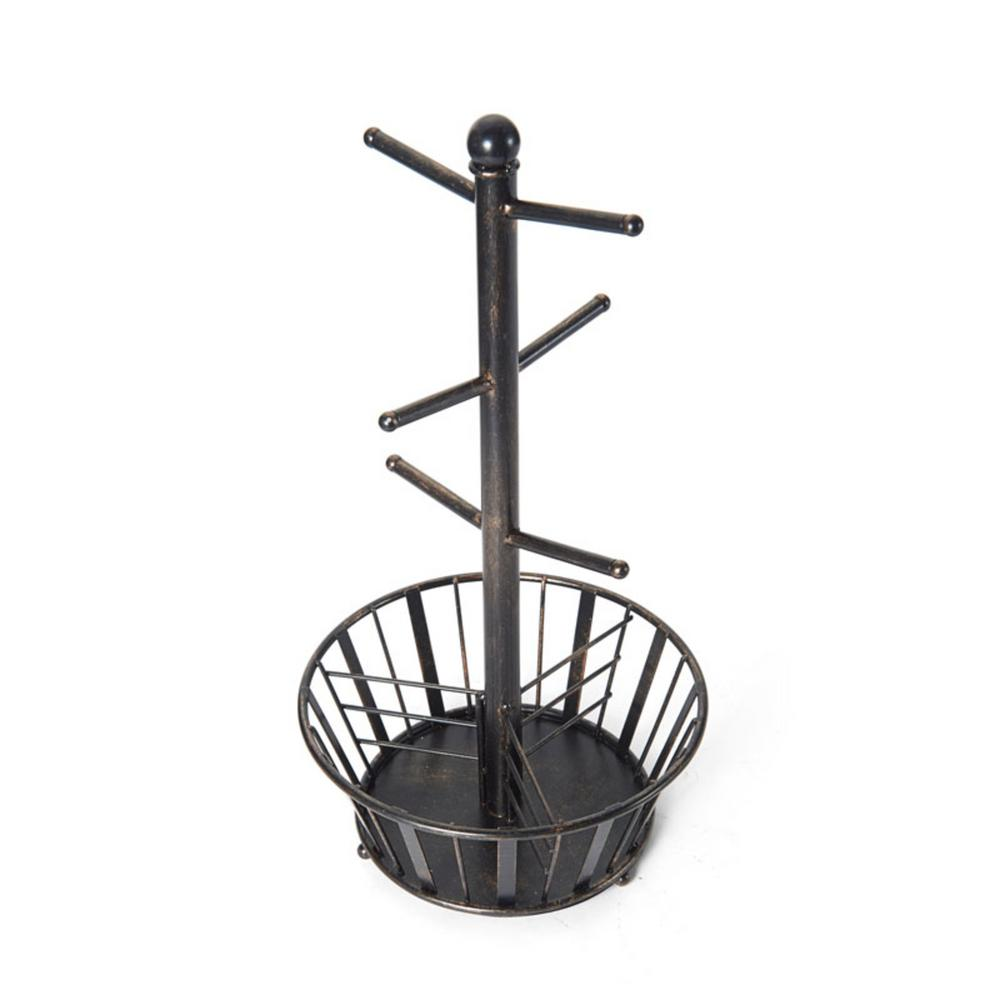 Band and Stripe 6-Hook Black Mug Tree With Bottom Basket