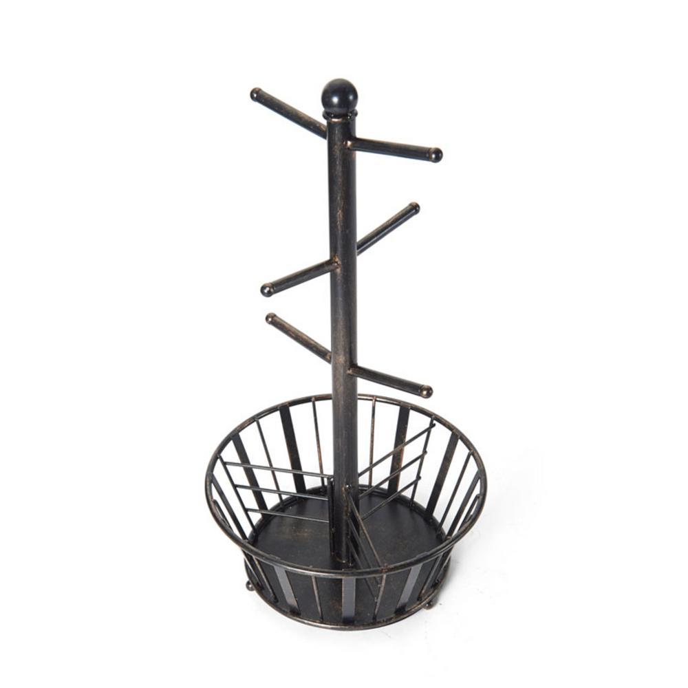 Band and Stripe 6-Hook Black Mug Tree With Bottom Basket