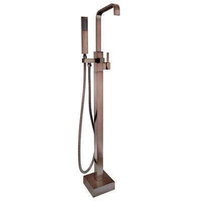 1-Handle Freestanding Floor Mount Roman Tub Faucet Bathtub Filler with Hand Shower in Antique Bronze