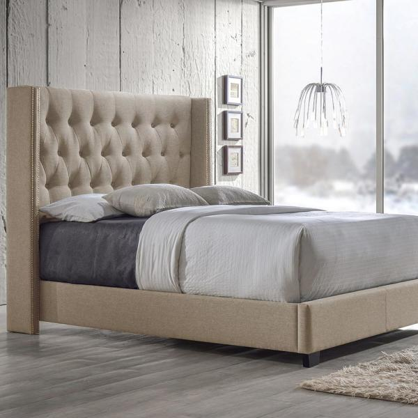 26427bf16d59 Baxton Studio Katherine Transitional Beige Fabric Upholstered Queen Size  Bed 28862-6287-HD - The Home Depot