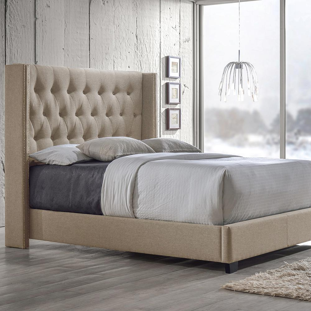king size bed metal baxton studio katherine transitional beige fabric upholstered king size bed