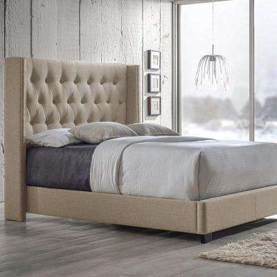 Katherine Transitional Beige Fabric Upholstered King Size Bed