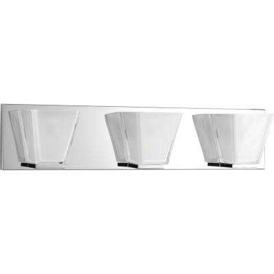 Streaming Collection 3-Light Polished Chrome Bathroom Vanity Light with Glass Shades
