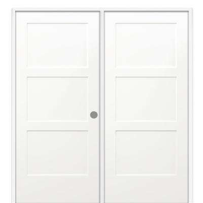 72 in. x 80 in. Birkdale Primed Left-Handed Solid Core Molded Composite Prehung Interior French Door on 6-9/16 in. Jamb