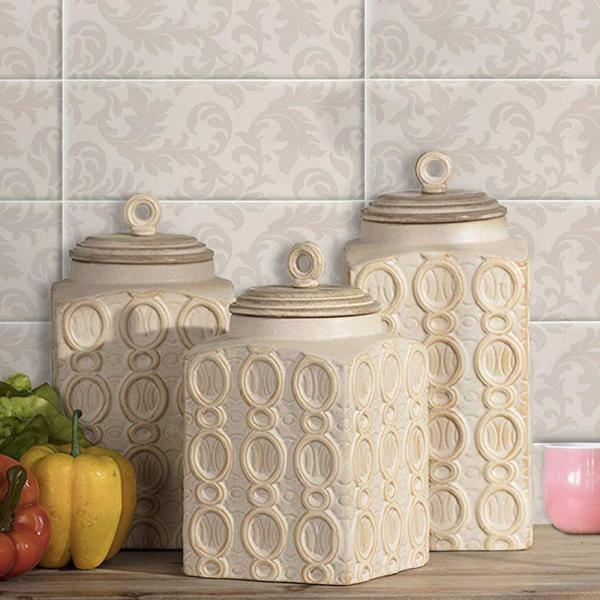 Dreanna 3-Piece White Ceramic Canisters