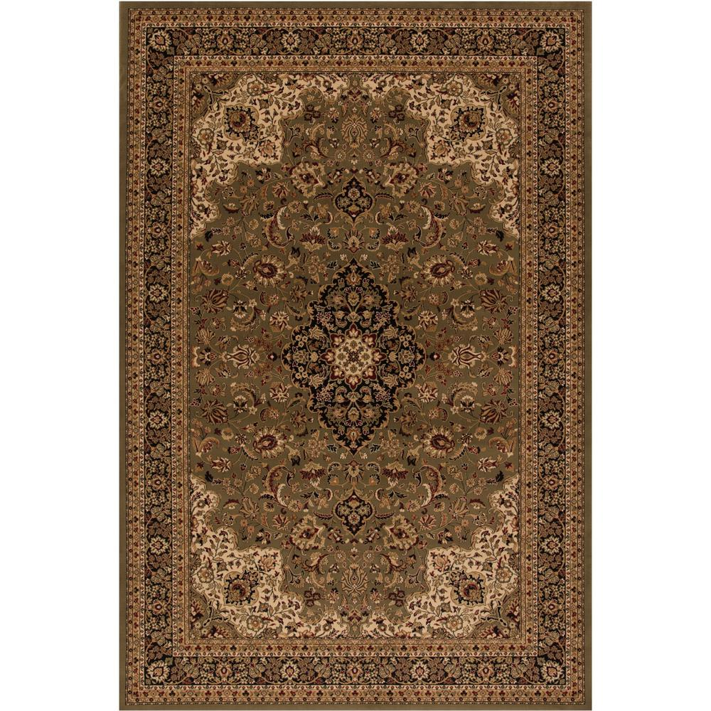Concord Global Trading Persian Clics Medallion Kashan Green 8 Ft X 11 Area