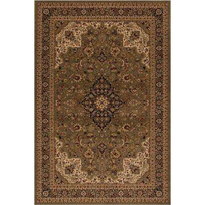 Persian Classic Medallion kashan Green Rectangle Indoor 9 ft. 3 in. X 12 ft. 10 in. Area Rug