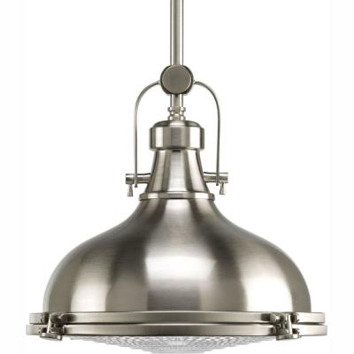 Fresnel Lens Collection 1-Light Brushed Nickel Integrated LED Mini Pendant with Fresnel Lens Glass