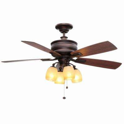 Oakley 52 in. Indoor Oil-Brushed Bronze Ceiling Fan with Light Kit