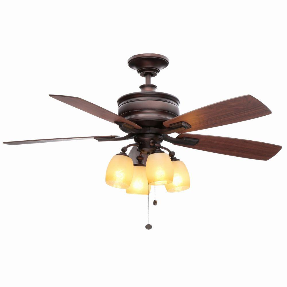 hunter belmor 52 in indoor new bronze ceiling fan with light kit 52059 the home depot. Black Bedroom Furniture Sets. Home Design Ideas