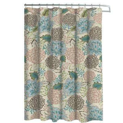 Oxford Weave Textured 70 in. W x 72 in. L Shower Curtain with Metal Roller Hooks in Sonrie Berber