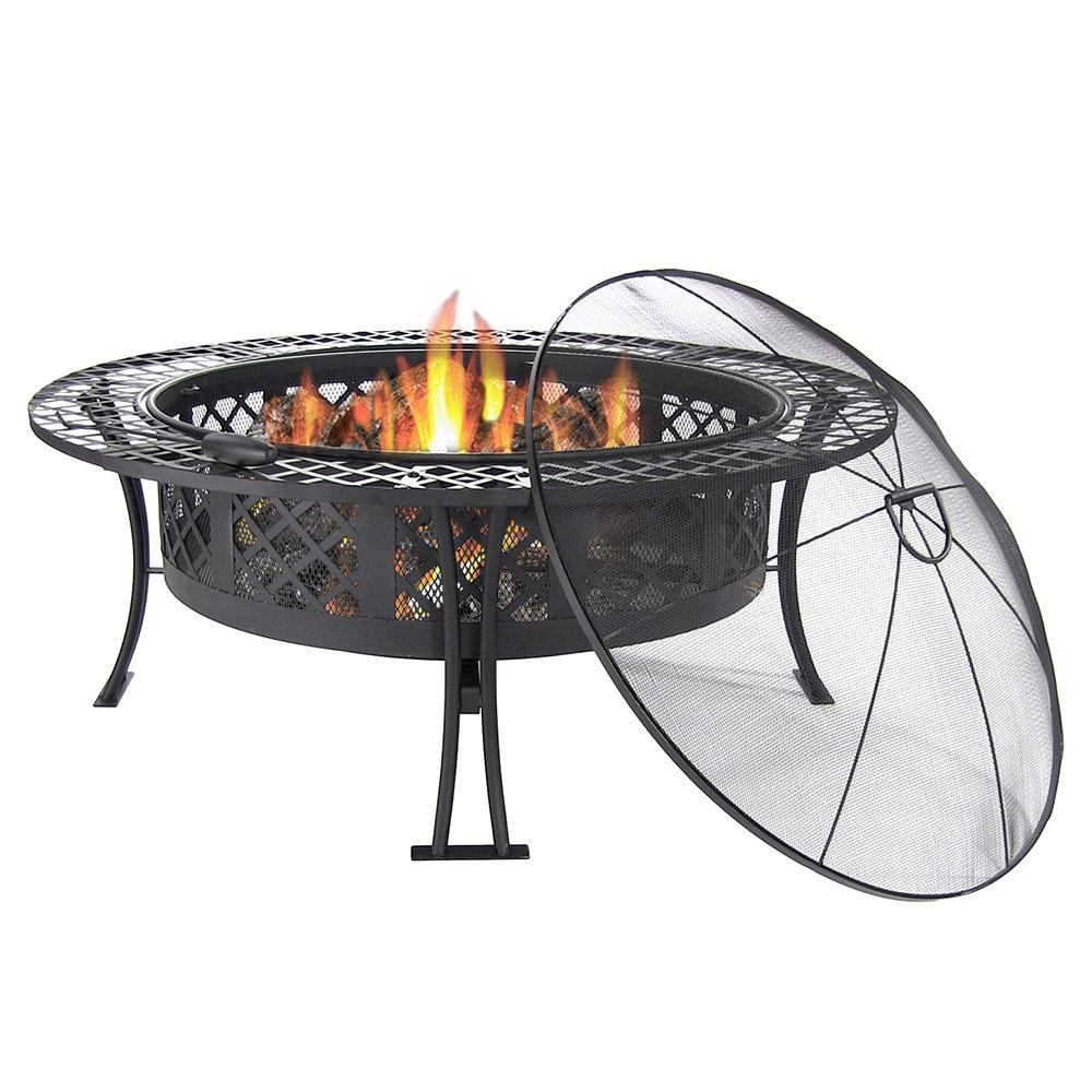 Sunnydaze Decor Diamond Weave 40 in. x 20 in. Round Steel Wood Burning Fire Pit in Black with Spark Screen