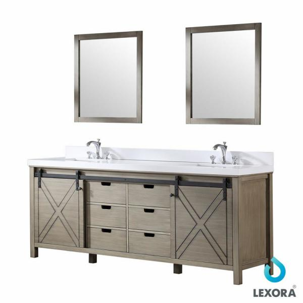 Lexora Marsyas 84 In W Bath Vanity In Rustic Brown With Quartz Vanity Top In White With White Basin And Mirror Lm342284dkcsm34 The Home Depot
