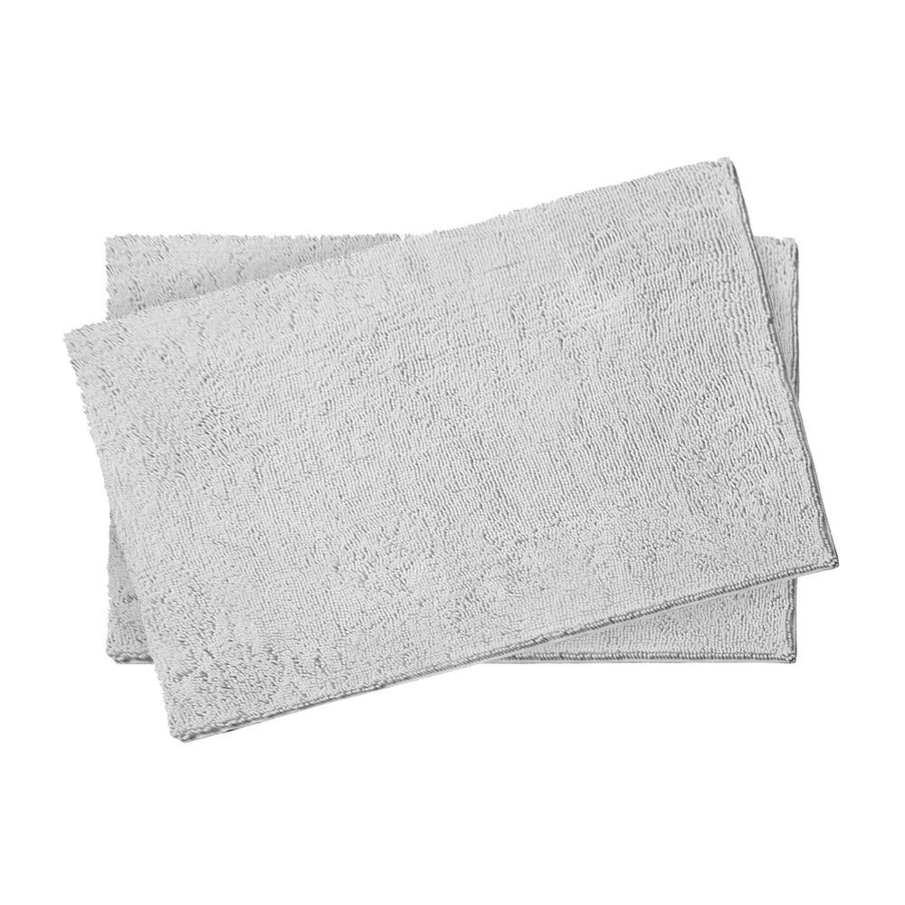Resort Collection Plush Chenille Light Gray 2 Piece 17 In X 24 Bath Rug Set Ymb005495 The Home Depot