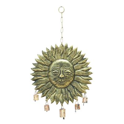 Hanging Sun Face Gold and Brass Wind Chime For Melodious Sound
