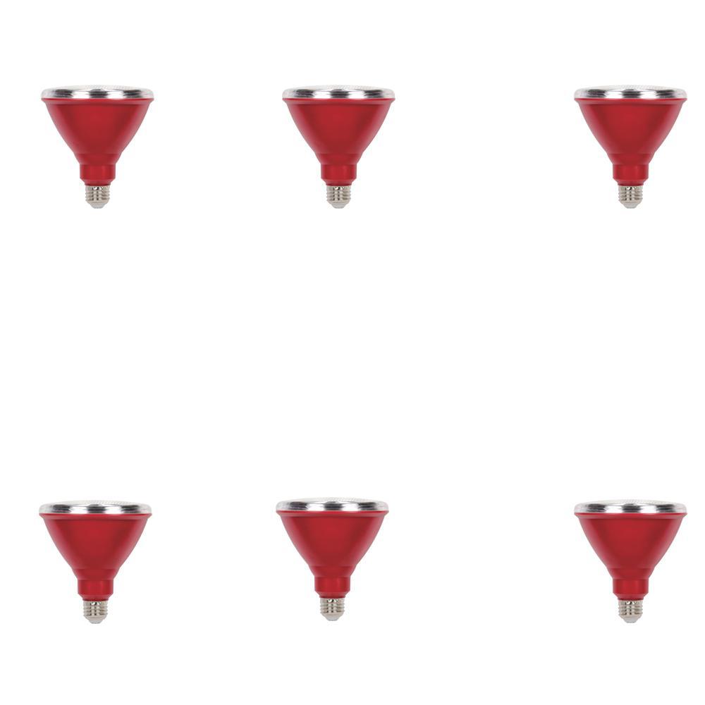 100W Equivalent Red PAR38 LED Weatherproof Flood Light Bulb (6-Pack)
