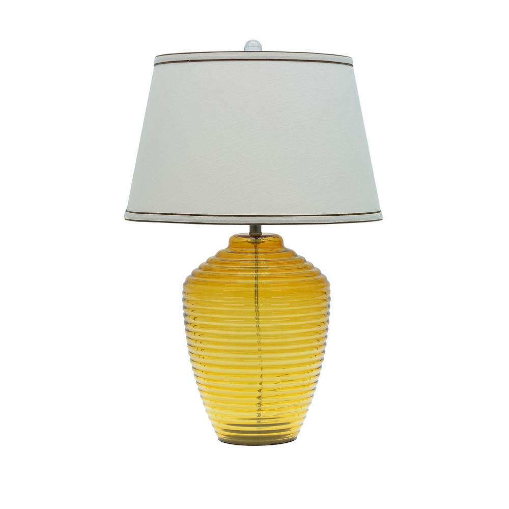 Aspen Creative Corporation 25 In Amber Gl Table Lamp With Empire Shaped Shade Off White