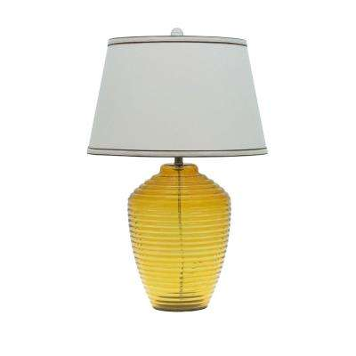 25 in. Amber Glass Table Lamp with Empire Shaped Lamp Shade in Off-White