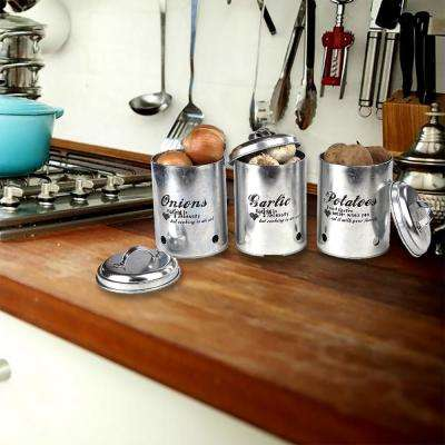 3-Stooges 3-Piece Garlic, Onion and Potatoes Metal Canister Set in Silver