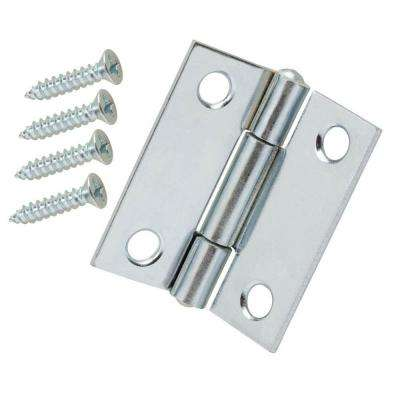 2 in. x 2 in. Zinc-Plated Narrow Utility Hinge Non-Removable Pin (2 per Pack)