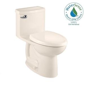 American Standard Compact Cadet 3 FloWise Tall Height 1-piece 1.28 GPF Single Flush Elongated Toilet in Linen by American Standard