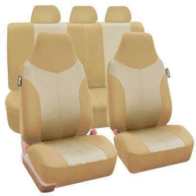 Supreme Twill Fabric 47 in. x 23 in. x 2 in. Universal Fit Full Set Seat Covers