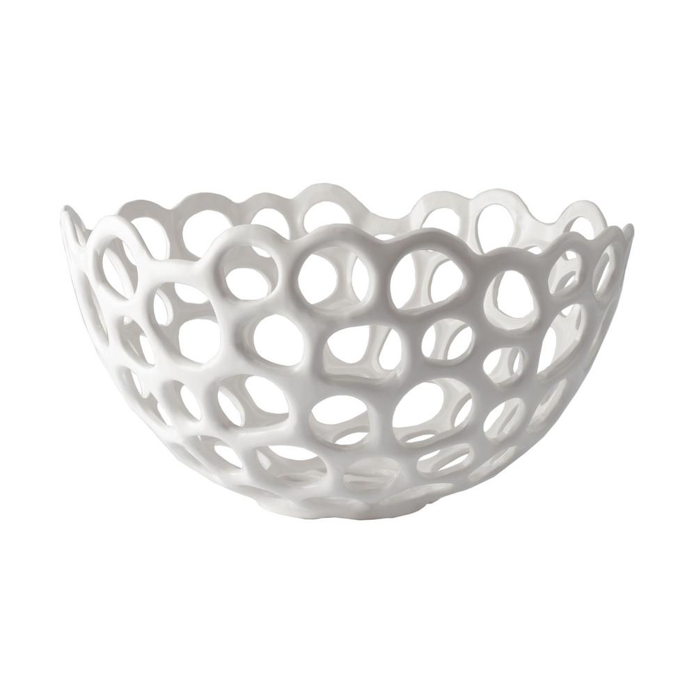 Perforated Porcelain Decorative Bowl In White
