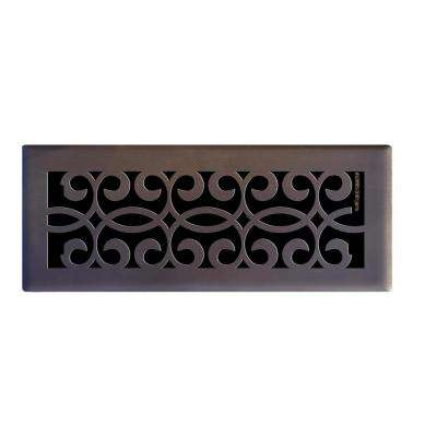 4 in. x 12 in. Classic Scroll Floor Register in Oil Rubbed Bronze